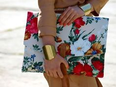 Floral print envelope clutches.