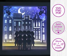 Victorian Christmas Carolers Square 3D Paper Cut Template Light Box SVG Digital Download Files, Shadow Box by Jumbleink on Etsy Cabin Christmas, Christmas Night, Victorian Christmas, Christmas Carol, 3d Craft, Craft Ideas, 3d Light, Paper Light, O Holy Night