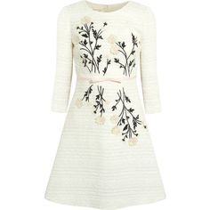 Giambattista Valli Embroidered appliquéd cotton-blend tweed dress (83.100 CZK) ❤ liked on Polyvore featuring dresses, vestidos, short dresses, платья, white, white mini dress, white dress, white bow dress and short floral dresses