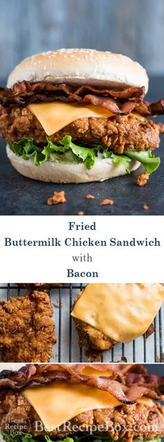 Easy crispy buttermilk chicken sandwich that's delicious and quick! Homemade Fried Buttermilk Chicken Sandwich with Bacon and Cheddar Cheese. Best crispy chicken sandwich recipe with bacon and cheddar. Buttermilk Chicken Burger, Fried Chicken Burger, Spicy Fried Chicken, Chicken Bacon, Roast Chicken, Roast Beef, Bacon Sandwich, Chicken Sandwich Recipes, Bacon Recipes