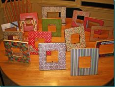 Picture Frames with scrapbook scrapbook paper.  I'll be making one soon!