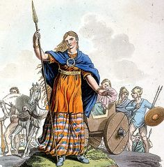 Boudica, also known as Boadicea and known in Welsh as Buddug was queen of the British Iceni tribe who led an uprising against the occupying forces of the Roman Empire. Women In History, British History, Ancient History, Iron Age, Iceni Tribe, Celtic Clothing, Library Art, Photo Library, Roman Britain