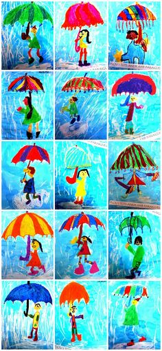 Plastiquem: PLOU I TOTS ANEM AMB PARAIGÜES. Crayon and watercolor umbrella drawings. Crayon resist with blue water correct over white crayon. Or cool colors over white crayon and make the umbrella warm colors only. Classroom Art Projects, School Art Projects, Art Classroom, Kindergarten Art, Preschool Art, Art 2nd Grade, Grade 3, Weather Art, Spring Weather