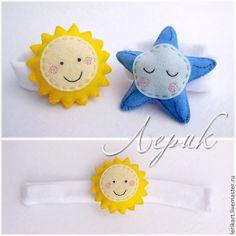 """Купить Детские браслеты погремушки """"День и ночь"""" - фетр, погремушка, развивающая игрушка, браслетик, для девочки"""