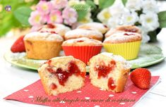 Muffin alle fragole con cuore di confettura-ricetta dolci-golosofia