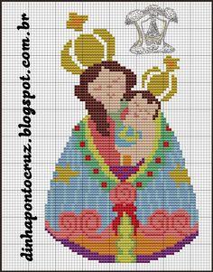 Dinha Ponto Cruz: Nossa Senhora de Nazaré em ponto cruz