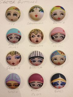 ButtonArtMuseum.com - Cute little replica garter buttons, they all have a name.