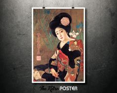 1912 Sakura Beer Vintage Advertising Poster - Kitano Tsunetomi // Asian Art // High Quality Fine Art Reproduction Giclée Print by TheRetroPoster on Etsy