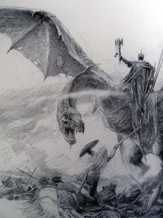 The Lord of the Rings Sketchbook - by Alan Lee (Eowyn and Witch-king)