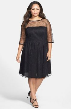 ABS Luxury Collection Illusion Neck Lace Dress (Plus Size) available at #Nordstrom