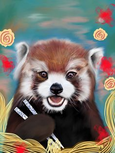 Red panda eating ramen by Lynn Aeria Suzuki 2016