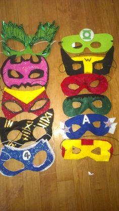Masks for superheroe party...girls (poison ive,batgirl,spidergirl,catwoman,fantastic 4) boys (green lantern,wolverin,spiderman,hulk,capitan america,iron man.