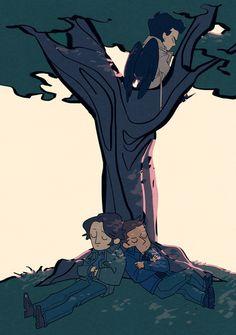 Supernatural - Sam, Dean and Castiel (by Blue) Supernatural Cartoon, Supernatural Fan Art, Dean And Castiel, Sam Dean, Film Serie, Misha Collins, Destiel, Superwholock, Paranormal
