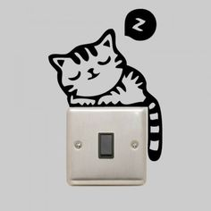 Sleeping Cat Sticker Decal for Light Switch Plug Socket Wall Art Decoration - Cat Wall Decal/ Cute Cat Sticker, Deca by VinyleeGraphix on Etsy https://www.etsy.com/listing/178933803/sleeping-cat-sticker-decal-for-light