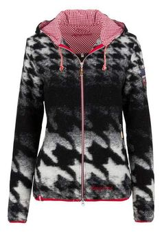 Folklore-outdoorjack dames, met capuchon, Almgwand outdoor jacket houndstooth pied de poule black white red print