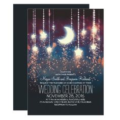 Moon Stars U0026 String Lights Summer Wedding Invitation