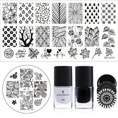 $4.99 BORN PRETTY Stamping Polish Plate Set 6ml Black White Polish Flower Leaf Tree Image Template - BornPrettyStore.com