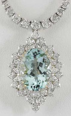 19.85CTW Natural Aquamarine And Diamond Necklace In 18K