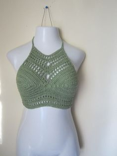 Crochet cropped halter top,festival clothing, sage top,crochet halter top, cropped top, festival top,  beach cover boho chic , summer top,