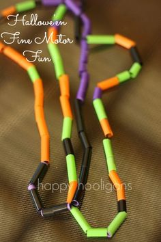 Hallowe'en Necklaces - great for fine motor and sewing skills, colour recognition, sorting and patterning (happy hooligans)