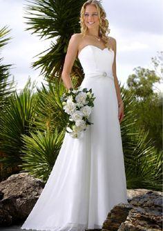 A-line Sweetheart Satin & Chiffon Hippie Wedding Dress