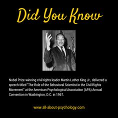 "On September 1st 1967, Nobel Prize-winning civil rights leader Martin Luther King Jr., delivered a speech entitled ""The Role of the Behavioral Scientist in the Civil Rights Movement"" at the American Psychological Association (APA) Annual Convention in Washington, D.C. You can read the full text of this powerful address via the following link. http://apa.org/monitor/features/king-challenge.aspx #MLKDay"