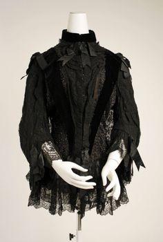 Mourning Jet beaded bodice, c. Edwardian Fashion, Gothic Fashion, Vintage Fashion, Retro Mode, Period Outfit, Costume Institute, Historical Clothing, Gothic Clothing, Fashion History