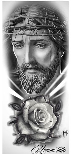 Jesus Christ Drawing, Jesus Drawings, Jesus Christ Images, Jesus Tattoo Design, Tattoo Design Drawings, Flower Tattoo Designs, Best Sleeve Tattoos, Cover Up Tattoos, Religious Tattoo Sleeves
