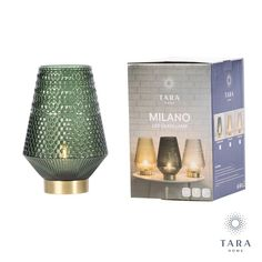 Part of our milano collection our milano battery led lamp needs no mains plug no wires: it is completely portable. it is in a beautiful deep emerald green colour which creates an irresistible glow from the light inside. the glass is beautifully detailed to create lattice effect of light and shade on the glass. it gives all the glow of a real candle without the worry of a naked flame as it is powered by battery. ideal for any room even the bathroom if soaking in the tub – also handy for boats… Led Lamp, Emerald Green, Green Colors, Tub, Boats, Naked, Glow, Deep, Candles