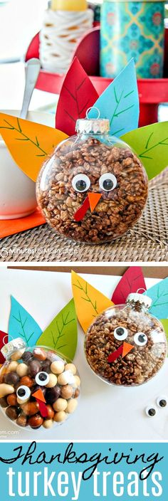 Turkey Treats for Thanksgiving - Easy Fall Craft - These Thanksgiving turkey treats are fun for breakfast and after dinner treats. If you are looking for a fun fall treat that's perfect for classroom gifts or decorating your mantel or Thanksgiving table, this easy fall craft is a perfect project to make with your the kids. #Thanksgiving #fallcraft #craft