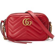 Gucci Gg Marmont Matelassé Mini Bag ($840) ❤ liked on Polyvore featuring bags, handbags, shoulder bags, red, women, gucci handbags, red leather handbags, mini shoulder bag, leather hand bags and leather purses