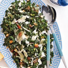 With a savory salad. Dress kale a day ahead; toss at the table.