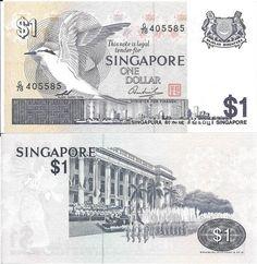 SINGAPURA - CÉDULA DE ONNE DOLLAR ANO 1976 - TEMA FAUNA AVES - PEÇA EM EXCELENTE ESTADO DE CONSERVA