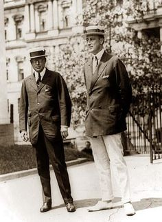 Governor James M. Cox of Ohio and Franklin D. Roosevelt of New York, arriving at the White House for conference with the president