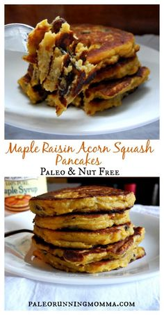 Maple Raisin Acorn Squash Pancakes that are paleo, gluten and grain free, dairy free, soy free and nut free. Vegetarian Recipes Easy, Delicious Vegan Recipes, Real Food Recipes, Cooking Recipes, Real Foods, Veggie Recipes, Keto Recipes, Brunch Recipes, Fall Recipes