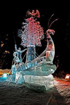 "2012 BP World Ice Art Championships. Multi Block Competition - ""The Land Calls"" by Oleg Klavdeev & Eduard Ponomarenko from Russia. Sculpture Textile, Art Sculpture, Abstract Sculpture, Bronze Sculpture, Snow And Ice, Fire And Ice, Snow Sculptures, Metal Sculptures, Ice Art"