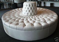 Good Extraordinary Ivory Tufted Round Sofa Chair! Custom Made 7u0027 Diameter