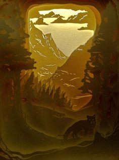 La volpe by ufocinque Kirigami, Shadow Box Kunst, Shadow Box Art, 3d Paper Art, Paper Crafts, Paper Cutting, Hansel Y Gretel, Tunnel Book, Licht Box