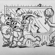 """No, toots you can't actually make a dollar out of 15 cents!!!"" Said Stumbles. ""My bad, hey my BAD!!!"" #art #arte #illustration #sharpies #blackandwhite #dibujo #pintura #atx #austin #Texas #sanantonio #brokenglasskids #smile #fun #cartoons"