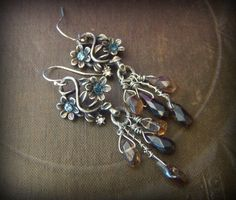 Vintage, Flower Earrings, Cottage Chic, Smoky Quartz, Gemstone, Earthy, Organic, Rustic, Beaded Earrings by YuccaBloom on Etsy