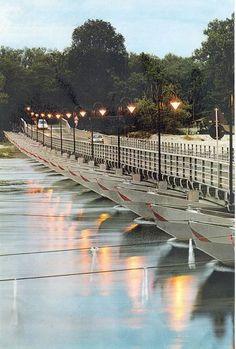 Ponte di Barche sul fiume Ticino in località Bereguardo - Pavia (Lombardia)