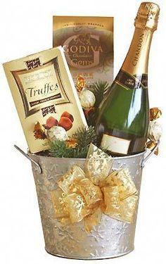 Bucket of Joyful Spirit Champagne Gift Wine Gift Baskets, Basket Gift, Wine Gifts, Homemade Gifts, Craft Gifts, Boyfriend Gifts, Holiday Gifts, Christmas Diy, Womens Christmas