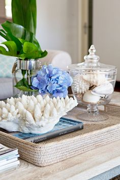 You can enhance the natural beauty of your home with beach house decorating ideas. Coastal Decor like beach art and furniture. Beach Cottage Style, Coastal Style, Beach House Decor, Coastal Decor, Coastal Living, Lake Cottage, Coffee Table Styling, Decorating Coffee Tables, Cottage Style Furniture