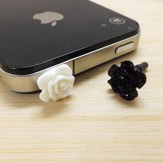 2 Colors Black And White Rose Flower Anti Dust Plug 3.5mm Phone Dust Stopper Earphone Cap Headphone Jack Charm for iPhone 4 4S 5 HTC Samsung on Etsy, $1.99