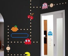 "Give your room some retro video game style with these Pac Man Wall Stickers. These wall stickers perfectly capture the vintage look of Pac Man and when combined with the <a href=""http://www.thisiswhyimbroke.com/arcade-light-switch"" target=""_blank"">Arcade Style Light Switches</a> make for one epic looking video game room."