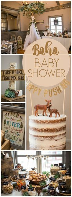 Wow! What a stunning woodsy boho baby shower party! See more party ideas at CatchMyParty.com!