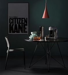 Dark and moody set-up for dining area