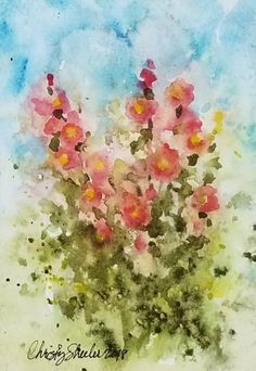 "Backyard Beauties, Original Watercolor on 140 lb. paper, 5"" x 7"" unframed. – Christy Sheeler, Montana watercolor artist, inspired by nature daily.  Hollyhocks are bold and delicate at the same time, with fragile tissue-like petals and cheerful presence.  These garden flowers stand tall and refuse to be ignored.  Spring and summer are made for beauty such as this!  Pin now and shop later!"