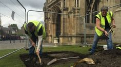 Work to dig four trial archaeological trenches at Gloucester Cathedral has begun ahead of a £6m redevelopment. The dig in the car park in Upper College Green and south of the building aims to establish if there is anything significant that could be disturbed. The area is to be landscaped as part of a 10-year plan, known as Project Pilgrim, to improve facilities at the medieval building. http://www.bbc.co.uk/news/uk-england-gloucestershire-32624766
