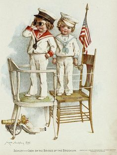 """Colour-plate after paintings in water-colour by Maud Humphrey from the book """"Gallant little patriots"""", New York 1899"""